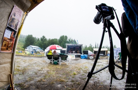 Finding shelter in the sound booth :-) But rain won't stop me from shooting! Music on the Mountain, 2013