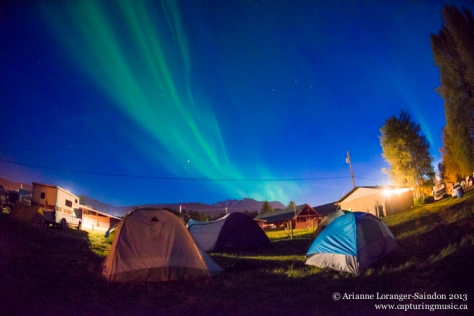 Northern Lights dancing to the rhythm of the campfire side music jam! Midsummer Music Festival, 2013
