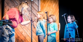 Sharing the stage and looping with some young volunteer artists. Midsummer Music Festival, 2013.