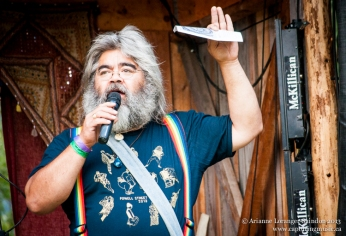MC'ing at Robson Valley Music Festival, 2013.